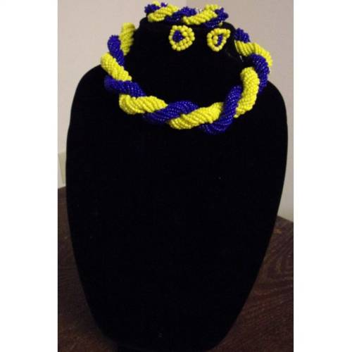 Twisted Bead Necklace – Yellow and Royal Blue  African Goods African Jewelry African Women Jewelry Fashion, Health & Beauty Jewelry Final Sale Hot Goods