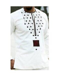 Black Front Dots African Men Top  African Clothing African Men Clothing Clothing, Shoes & Accessories