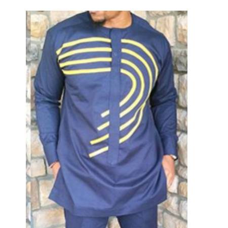 Curve Striped Shirt Traditional African Wear  African Clothing African Men Clothing Clothing, Shoes & Accessories