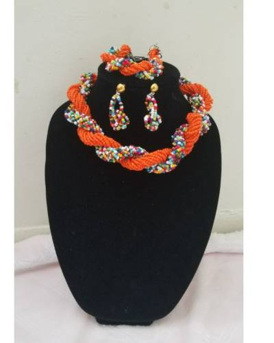 Orange Multi-Color African Necklace Set  African Goods African Jewelry African Women Jewelry Fashion, Health & Beauty Jewelry Final Sale Hot Goods