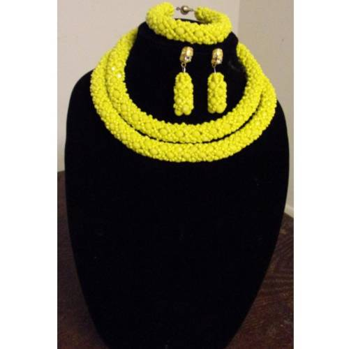 Yellow Beaded African Necklace Set  African Goods African Jewelry African Women Jewelry Fashion, Health & Beauty Jewelry Final Sale Hot Goods
