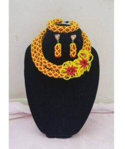 Yellow Over Orange Beaded African Necklace  African Goods African Jewelry African Women Jewelry Fashion, Health & Beauty Jewelry Final Sale Hot Goods