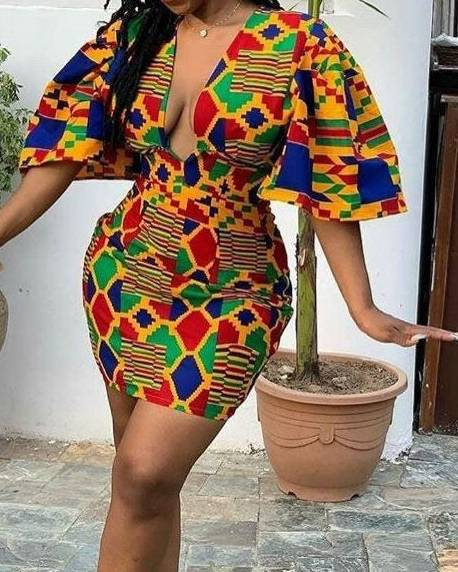 African Ladies Kente Extended Top  African Goods African Clothing African Women Clothing Clothing, Shoes & Accessories