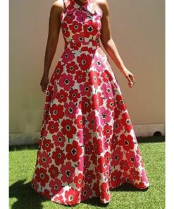 African Women Floral Patter Long Dress  African Goods African Clothing African Women Clothing Clothing, Shoes & Accessories