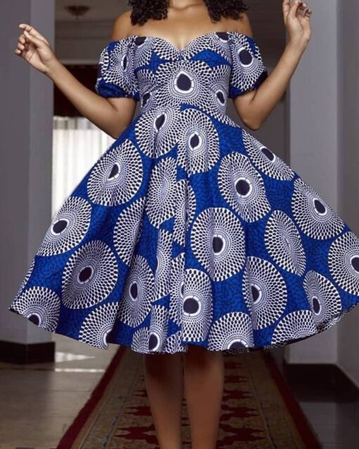 Mid Calf Print Dress  African Goods African Clothing African Women Clothing Clothing, Shoes & Accessories