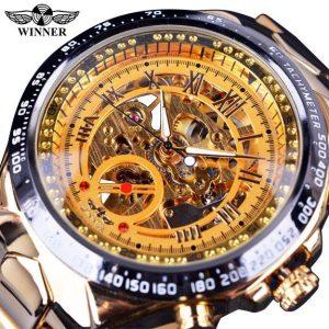 Men's Golden Skeleton Watch color: Golden Men Watches