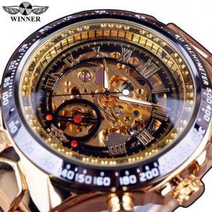 Men's Golden Skeleton Watch color: Black Golden Men Watches