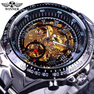 Men's Golden Skeleton Watch color: Silver Golden Men Watches