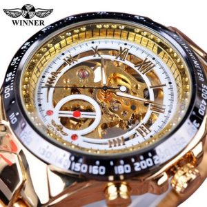 Men's Golden Skeleton Watch color: White Golden Men Watches