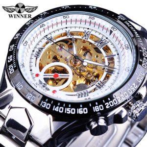 Men's Golden Skeleton Watch color: New White Golden Men Watches