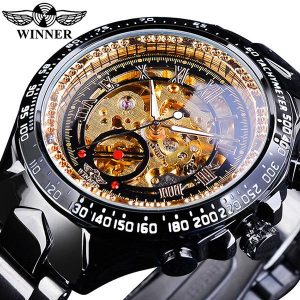 Men's Golden Skeleton Watch color: Golden Black Men Watches