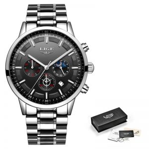 Business Style Watch For Men color: Silver Black Men Watches