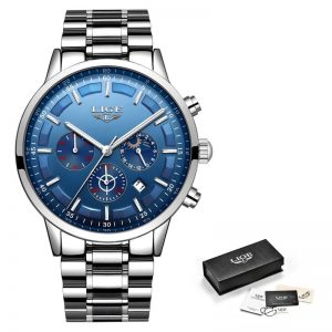 Business Style Watch For Men color: Silver Blue Men Watches
