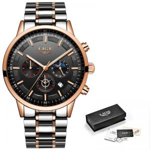 Business Style Watch For Men color: Rose Gold Black Men Watches