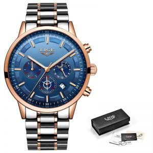Business Style Watch For Men color: Rose Gold Blue Men Watches