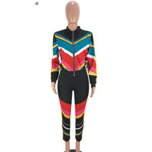 Striped Zip Tracksuit Prints Clothing, Shoes & Accessories