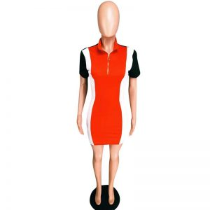 Front Zipper Stretch Short Sleeve Dress color: Red Size: L Prints Clothing, Shoes & Accessories