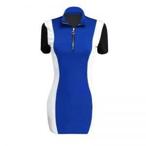 Front Zipper Stretch Short Sleeve Dress color: Blue Size: XL Prints Clothing, Shoes & Accessories