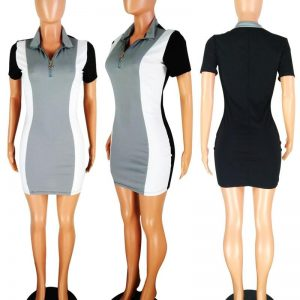 Front Zipper Stretch Short Sleeve Dress color: Gray Size: S Prints Clothing, Shoes & Accessories