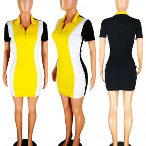 Front Zipper Stretch Short Sleeve Dress color: Yellow Size: L Prints Clothing, Shoes & Accessories