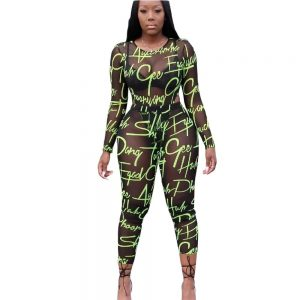 Long Sleeve See Through Bodysuit color: Green Size: S Prints Clothing, Shoes & Accessories
