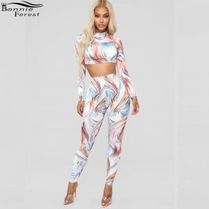 Bonnie Forest Sexy Women 2 Pieces Suits Printing Outfits Spring Long Sleeve High Neck Crop Top Skinny Pants Set Women Tracksuits Prints Clothing, Shoes & Accessories