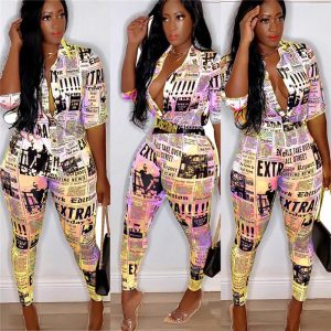 Newspaper Print Turn-down Button Up and Pencil Pants  Prints Clothing, Shoes & Accessories