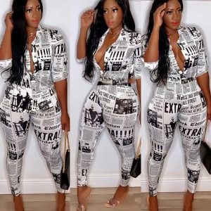 Newspaper Print Turn-down Button Up and Pencil Pants color: White Size: XXXL Prints Clothing, Shoes & Accessories