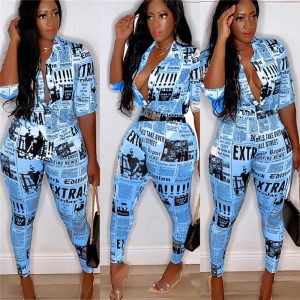 Newspaper Print Turn-down Button Up and Pencil Pants color: Blue Size: L Prints Clothing, Shoes & Accessories
