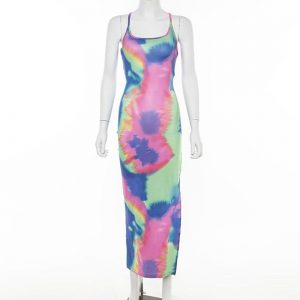 Tie Dye Long Maxi Dress for Women color: Multi Size: S Prints Clothing, Shoes & Accessories