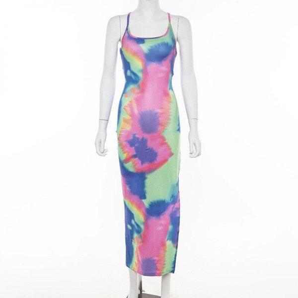 Tie Dye Long Maxi Dress for Women Prints Clothing, Shoes & Accessories