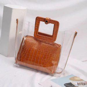 PVC Transparent Lady Handbag and Purse color: BROWN Size: 27cmx25cmx12cm Women's Bag Fashion, Health & Beauty