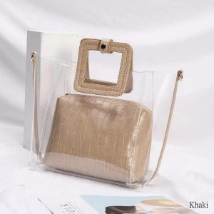 PVC Transparent Lady Handbag and Purse color: Khaki Size: 27cmx25cmx12cm Women's Bag Fashion, Health & Beauty