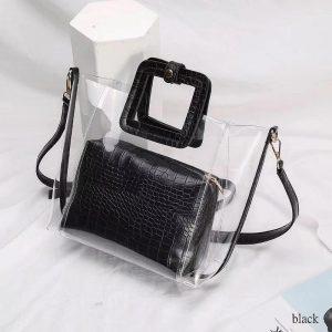 PVC Transparent Lady Handbag and Purse color: Black Size: 27cmx25cmx12cm Women's Bag Fashion, Health & Beauty
