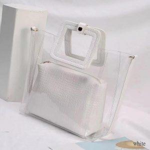 PVC Transparent Lady Handbag and Purse color: White Size: 27cmx25cmx12cm Women's Bag Fashion, Health & Beauty