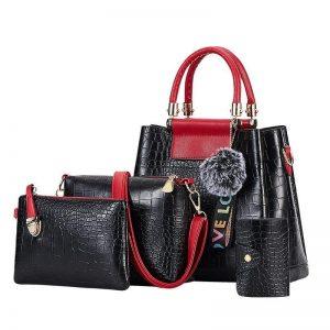 4PS Luxury Women's Composite Shoulder And Leather Handbags color: 4PS Black Red Size: (20cm<Max Length<30cm) Women's Bag Fashion, Health & Beauty