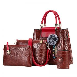 4PS Luxury Women's Composite Shoulder And Leather Handbags color: 4PS Brown Red Size: (20cm<Max Length<30cm) Women's Bag Fashion, Health & Beauty
