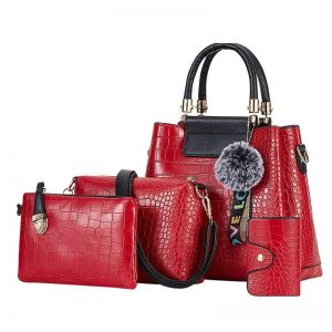 4PS Luxury Women's Composite Shoulder And Leather Handbags color: 4PS Red Size: (20cm<Max Length<30cm) Women's Bag Fashion, Health & Beauty