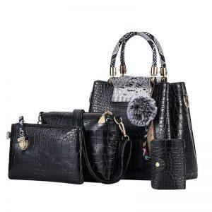 4PS Luxury Women's Composite Shoulder And Leather Handbags color: 4PS Black Gray Size: (20cm<Max Length<30cm) Women's Bag Fashion, Health & Beauty