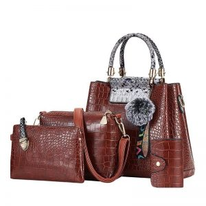 4PS Luxury Women's Composite Shoulder And Leather Handbags color: 4PS Brown Gray Size: (20cm<Max Length<30cm) Women's Bag Fashion, Health & Beauty