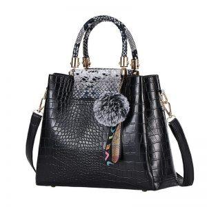 4PS Luxury Women's Composite Shoulder And Leather Handbags color: Black Gray Size: (20cm<Max Length<30cm) Women's Bag Fashion, Health & Beauty