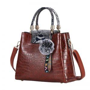 4PS Luxury Women's Composite Shoulder And Leather Handbags color: Brown Gray Size: (20cm<Max Length<30cm) Women's Bag Fashion, Health & Beauty