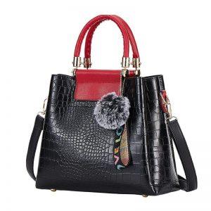 4PS Luxury Women's Composite Shoulder And Leather Handbags color: Black Red Size: (20cm<Max Length<30cm) Women's Bag Fashion, Health & Beauty